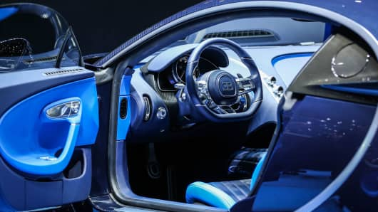 Interior of the Bugatti Chiron on display at he Geneva Motor Show 2017 on March 8, 2017 in Geneva, Switzerland.