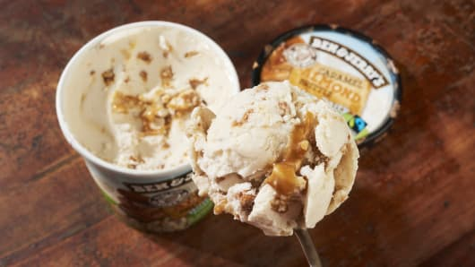 Ben & Jerry's debuted non-dairy ice cream made with almond milk last year. Shoppers are more interested in dairy-free options, with sales up 49 percent in 2016, according to data from Nielsen.