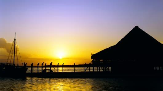 Nichupte Lagoon, Yucatan Peninsula, Mexico.