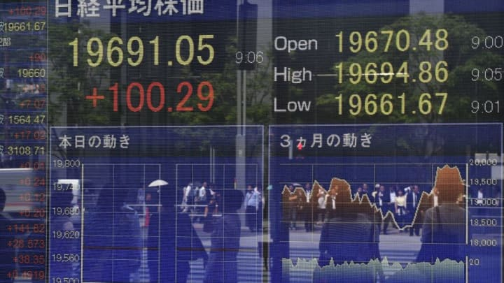 A stock quotation board displays share prices of the Tokyo Stock Exchange in front of a securities company in Tokyo on May 22, 2017.