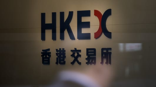 Signage for the Hong Kong Exchanges & Clearing Ltd. (HKEx) in Hong Kong