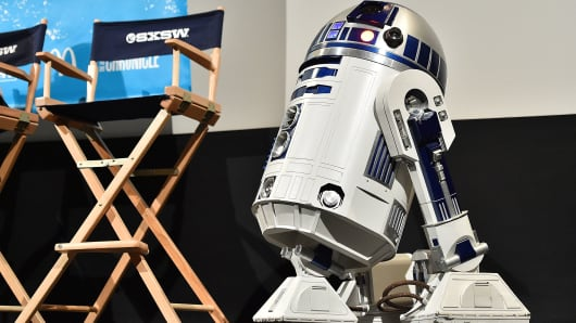 R2-D2 attends the screening of 'Secrets of The Force Awakens: A Cinematic Journey' during the 2016 SXSW Music, Film + Interactive Festival at Paramount Theatre on March 14, 2016 in Austin, Texas.