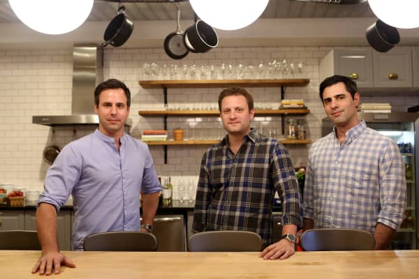Matt Wadiak, Matt Salzberg and Ilia Papas, co-founders of the recipe delivery service Blue Apron, pose for a portrait in their offices in Manhattan, NY, on April 19, 2016.