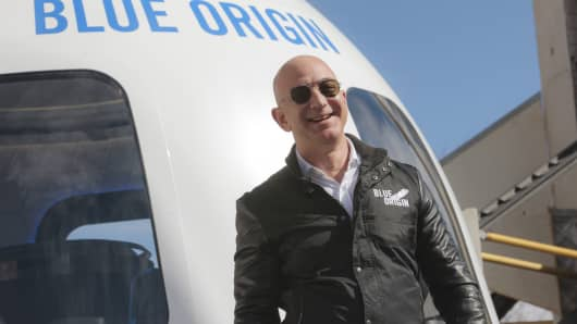Amazon CEO Jeff Bezos, founder of Blue Origin, at the unveiling of its New Shepard reusable launch system at the Space Symposium in Colorado Springs, April 5, 2017