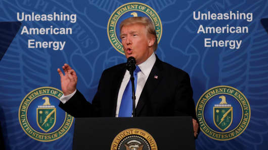 President Donald Trump delivers remarks during an 'Unleashing American Energy' event at the Department of Energy in Washington, U.S., June 29, 2017.