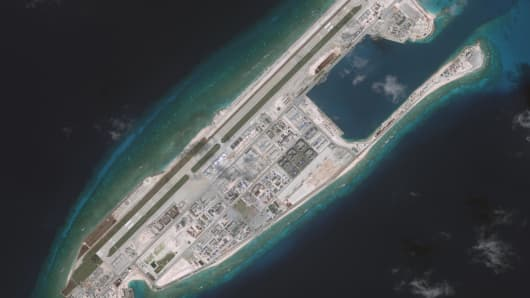 DigitalGlobe imagery of the Fiery Cross Reef located in the South China Sea. Fiery Cross is located in the western part of the Spratly Islands group.