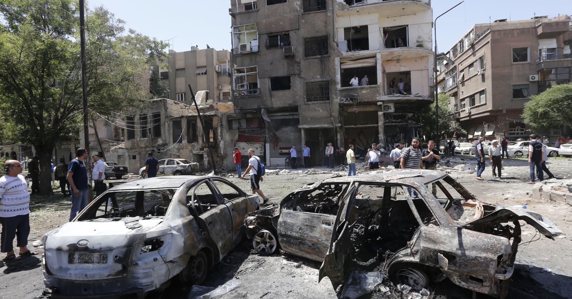 Three car bombs hit Damascus, seven people killed