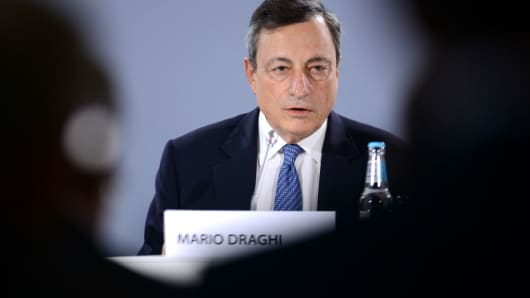 Mario Draghi, President of the European Central Bank (ECB), speaks during a news conference to discuss monetary policy in Tallinn, Estonia, on Thursday, June 8, 2017.