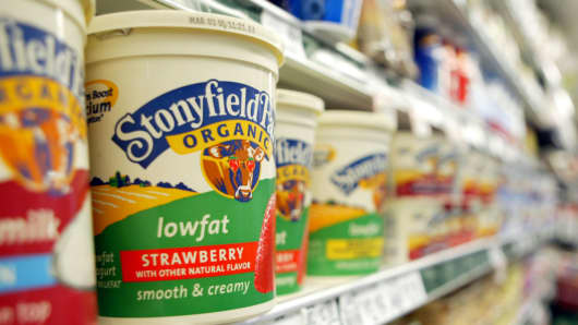 A container of Stonyfield yogurt sits on a shelf in the organic foods section at a Publix grocery store in Boca Raton, Florida.