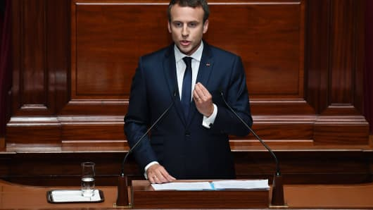 French President Emmanuel Macron speaks during a special congress gathering both houses of parliament (National Assembly and Senate) in the palace of Versailles, outside Paris, on July 3, 2017.