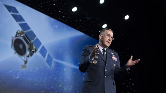 General John Hyten, commander of United States Air Force Space Command, speaks during the 32nd Space Symposium in Colorado Springs, Colorado.