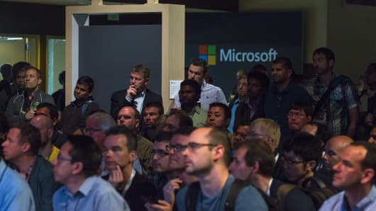 Attendees listen to a presentation during Microsoft's Developers Build Conference in Seattle
