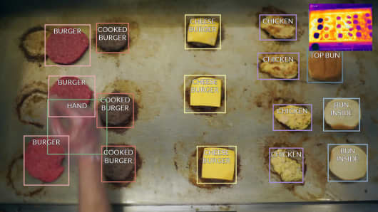 Flippy uses sensors and cameras to see the food it is cooking and monitor temperature.