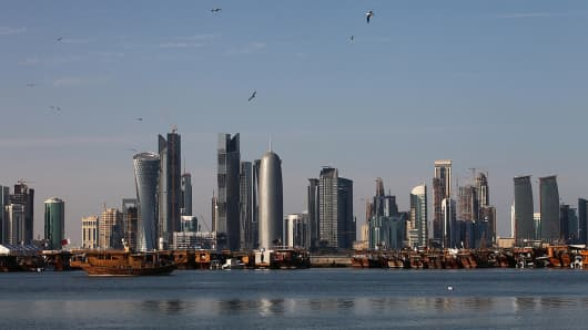 New high-rise office buildings and hotels build the skyline opposite the promenade at the Al Corniche road on December 30, 2010 in Doha, Qatar.