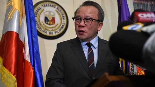 Philippine Supreme Court spokesman Theodore Te answers a question from members of the media during a press briefing at the Supreme Court in Manila on July 4, 2017.