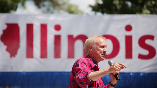 Illinois Gov. Bruce Rauner speaks at the Illinois State Fair in Springfield, Ill., on August 17, 2016.