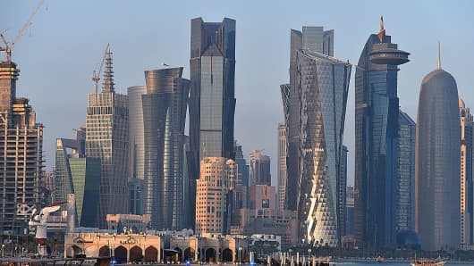Skyline of Doha, Qatar.