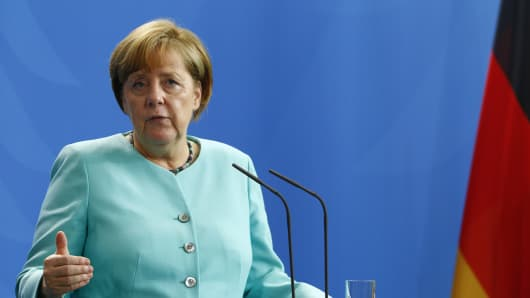 Germany Chancellor Angela Merkel speaks to the press during a press statement