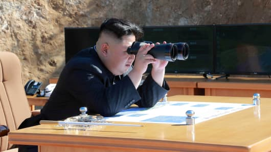 North Korean Leader Kim Jong Un looks on during the test-fire of inter-continental ballistic missile Hwasong-14 in this undated photo released by North Korea's Korean Central News Agency (KCNA) in Pyongyang, July, 4 2017.