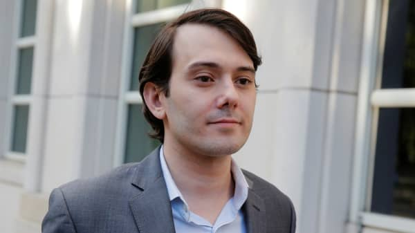 Martin Shkreli, former chief executive officer of Turing Pharmaceuticals and KaloBios Pharmaceuticals Inc, departs after a hearing at U.S. Federal Court in Brooklyn, New York.