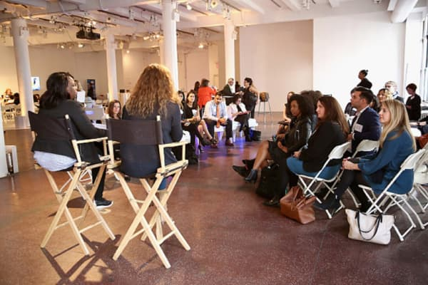 speaks onstage during The Scale Collective, the inaugural event being produced by Virago, a strategic advisory supporting women entrepreneurs at Hudson Mercantile on November 2, 2016 in New York City.