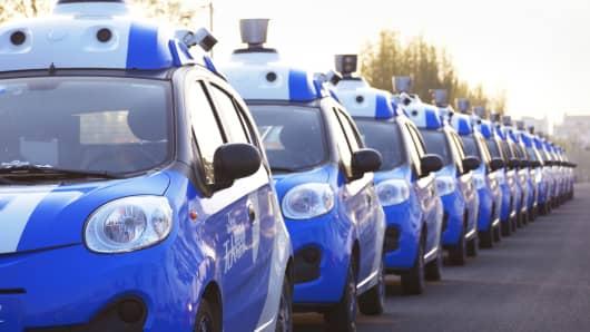 A fleet of vehicles equipped with Baidu's autonomous driving technologies conduct road testing in Wuzhen, Zhejiang Province, China.