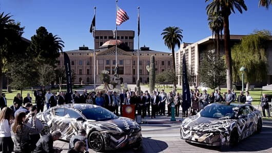 Lucid Motors director of manufacturing, Brian Barron, speaking at the Arizona State Capitol about plans to build a $700 million electric vehicle manufacturing plant.