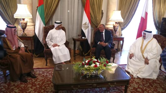 Minister of Foreign Affairs of the United Arab Emirates Abdullah bin Zayed Al Nahyan (2nd L), Saudi Arabian Foreign Minister Adel bin Ahmed Al-Jubeir (L), Foreign Minister of Egypt Sameh Shoukry (2nd R) and Bahrain Foreign Minister Khalid bin Ahmed Al Khalifa (R) gather to attend a meeting regarding Qatar crisis in Cairo, Egypt on July 05, 2017.