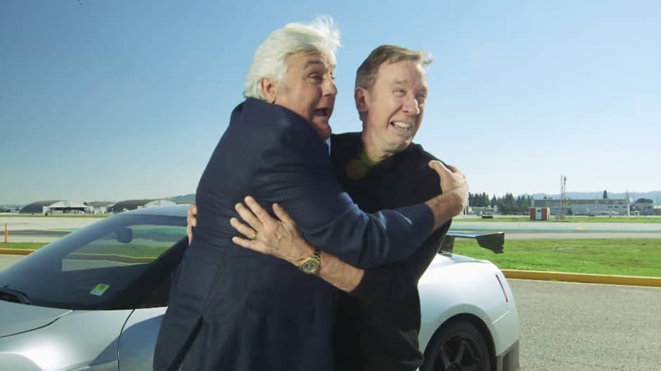 Jay Leno and guest host Tim Allen learn how to drift from racing pro