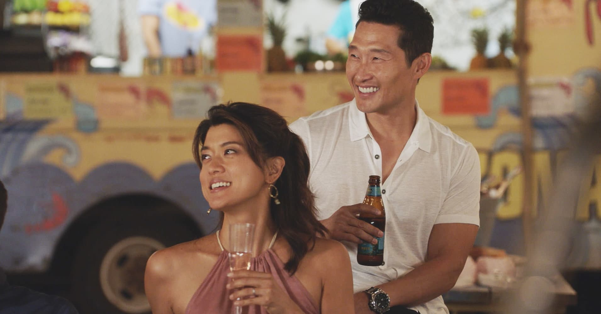 Grace Park as Kono Kalakaua and Daniel Dae Kim as Chin Ho Kelly on CBS' 'Hawaii Five-O'