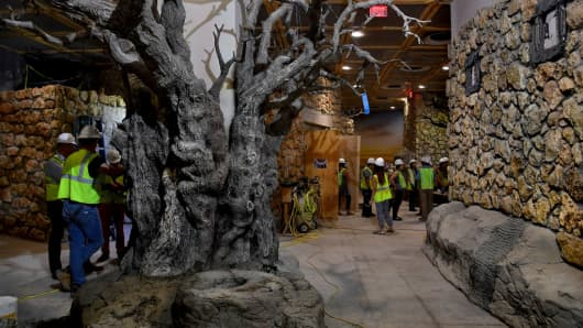 Preview tour of the Museum of the Bible, which is under construction in SW Washington, D.C. on 28 April 2017.