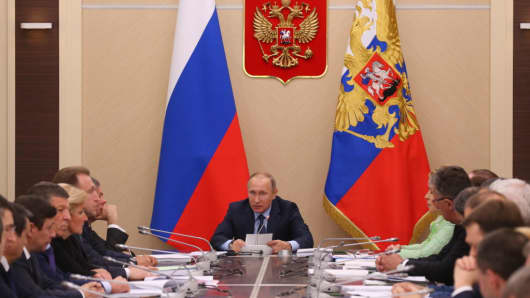 Putin speaks during the a meeting at Novo Ogaryovo state residence on July 5, 2017 in Moscow, Russia.