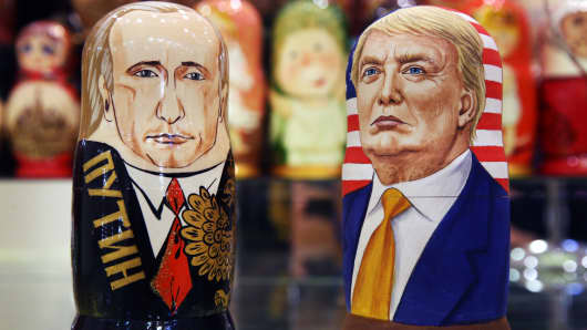 Russian dolls in the likeness of Russia's president Vladimir Putin and US presidential candidate Donald Trump in a souvenir shop.