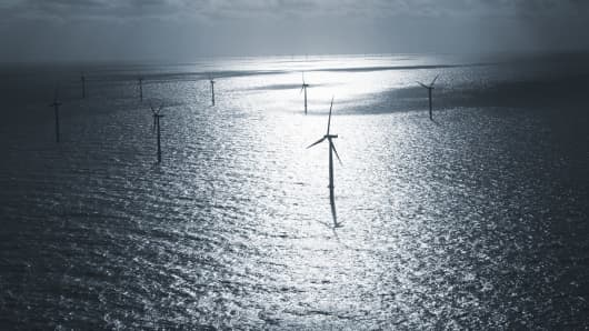 This image depicts the offshore wind farm Horns Rev 2 off the coast of Denmark, which DONG Energy inaugurated in 2009.