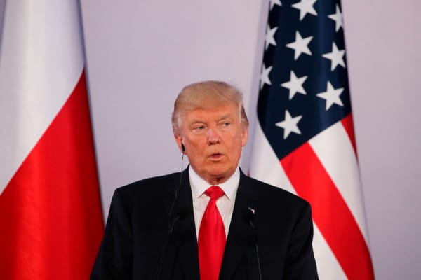 President Donald Trump speaks during a joint news conference with Polish President Andrzej Duda, in Warsaw, Poland July 6, 2017.