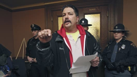 Randy Bryce, a Democratic union ironworker who twice ran unsuccessfully for the state Legislature announced Monday, June 19, 2017, that he will challenge Republican House Speaker Paul Ryan for re-election.