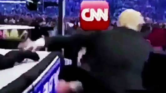 A screengrab from a video mockup showing President Donald Trump wrestling with a CNN reporter.