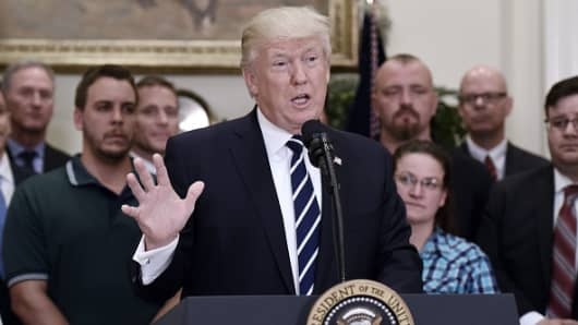 President Donald Trump speaks during an Apprenticeship and Workforce of Tomorrow initiatives event in the Roosevelt Room of the White House in Washington, D.C., U.S., on Thursday, June 15, 2017.