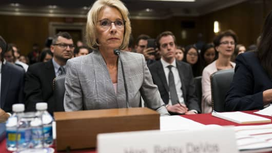Education Secretary Betsy DeVos testifies before a subcommittee of the House Appropriations Committee on Capitol Hill, in Washington, June 6, 2017.