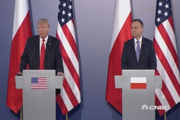 President Trump dodges question about Russian interference