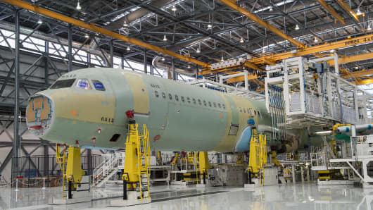 The fuselage of an Airbus A321 in Airbus' first US manufacturing facility in Mobile, Alabama. Airbus plans to assemble 40-50 of its single-aisle A-320 family every year beginning in 2018 from the plant, built on the site of a World War II bomber support base.