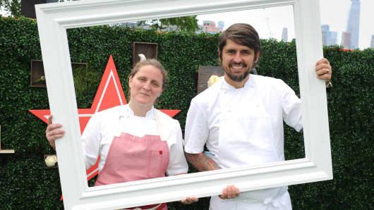 S.Pellegrino Taste Guide Event With Chefs April Bloomfield & Ludo Lefebvre at Hudson River Park at Pier 46 on June 30, 2017 in New York City.