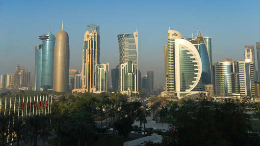 The Doha Skyline at the Sheraton Grand Hotel on November 17, 2016 in Doha, Qatar.