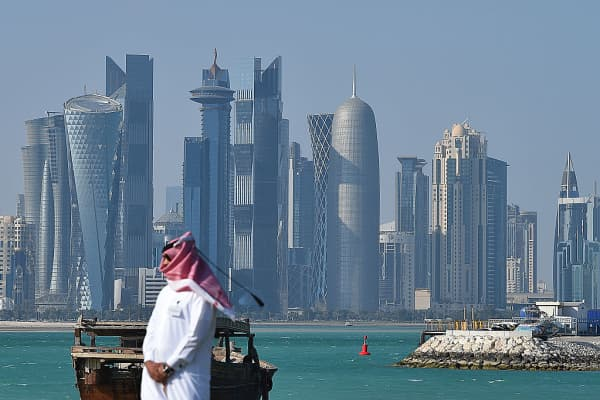 The skyline of Doha, Qatar.