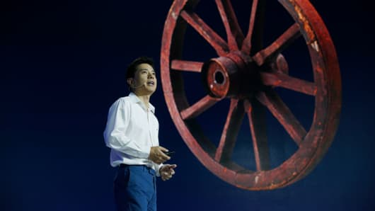 Robin Li, Co-Founder and CEO of Baidu, speaks at the Baidu AI Developer Conference on July 5, 2017 in Beijing, China.