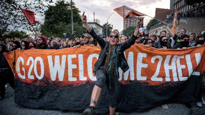 Demonstrators attend the Welcome to Hell anti-G20 protest march near Hamburg harbor on July 6, 2017 in Hamburg, Germany.