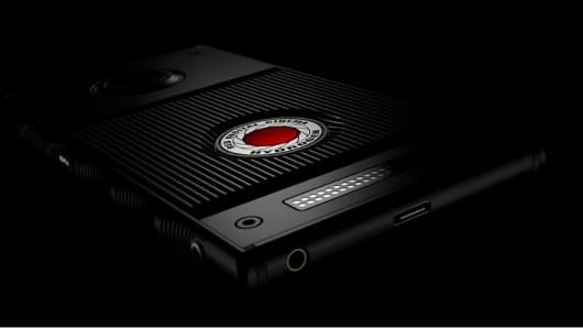 """The Red Hydrogen smartphone which it is billing as the """"world's first holographic media machine."""""""