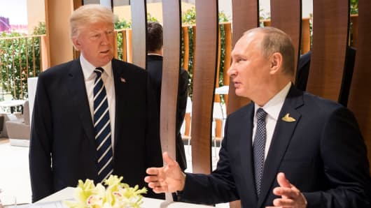 In this photo provided by the German Government Press Office (BPA), Donald Trump meets Vladimir Putin during the G20 Summit on July 7, 2017 in Hamburg, Germany.