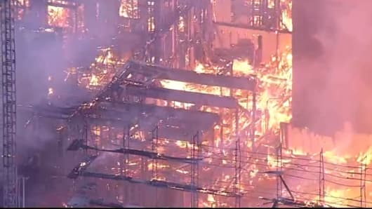 Oakland fire: Four-alarm blaze at downtown construction site