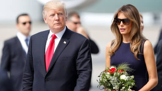 President Donald Trump and First Lady Melania Trump arrive for the G20 leaders summit in Hamburg, Germany July 6, 2017.